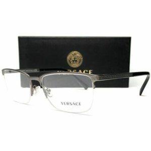 Versace Men's Gunmetal Rectangle Eyeglasses!